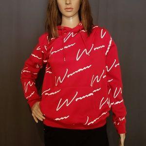 Red and White Hoodie sweatshirt size Medium